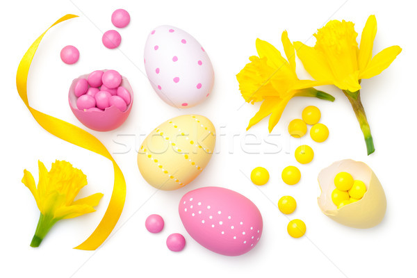 Easter Composition Isolated on White Background Stock photo © ThreeArt