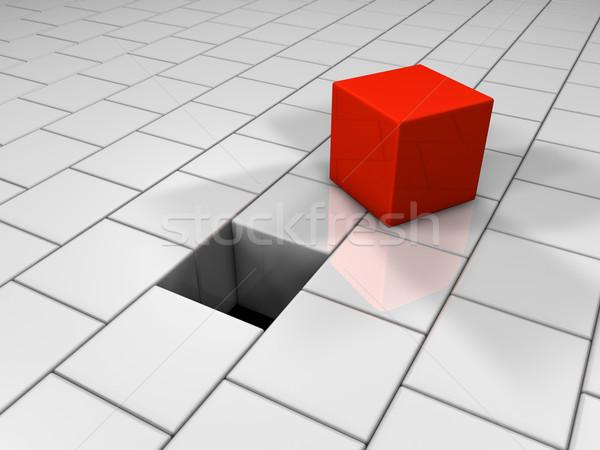 Piros kocka lyuk puzzle 3d render csoport Stock fotó © ThreeArt