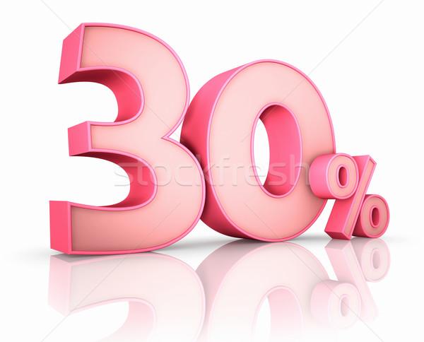Roze dertig procent geïsoleerd witte 30 Stockfoto © ThreeArt