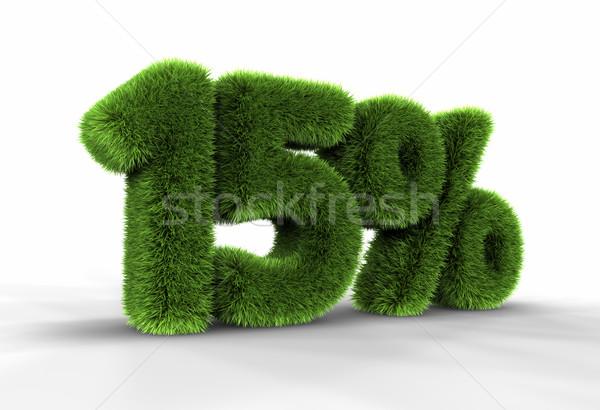 Gras vijftien procent geïsoleerd witte 15 Stockfoto © ThreeArt