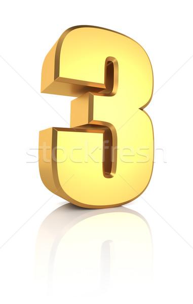 3D número dourado isolado branco Foto stock © ThreeArt