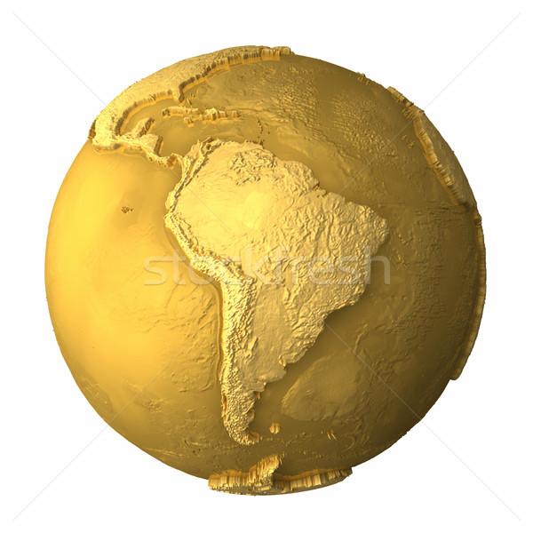 Oro mundo américa del sur metal tierra realista Foto stock © ThreeArt