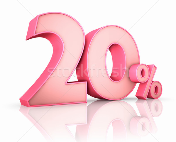 Roze twintig procent geïsoleerd witte 20 Stockfoto © ThreeArt