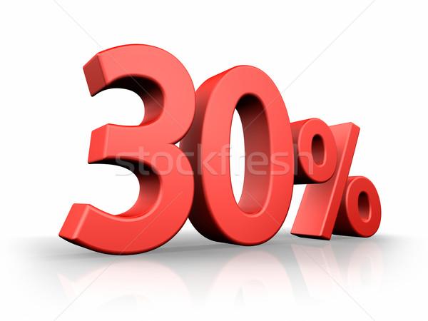Piros harminc százalék izolált fehér 30 Stock fotó © ThreeArt