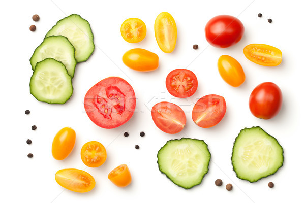 Tomatoes with Cucumber Isolated on White Background Stock photo © ThreeArt