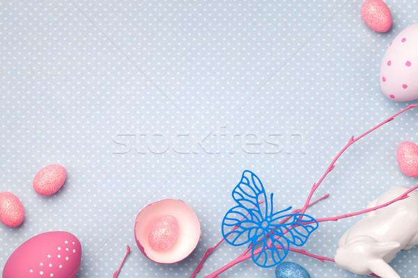 Húsvét ünnep copy space felső kilátás tojás Stock fotó © ThreeArt