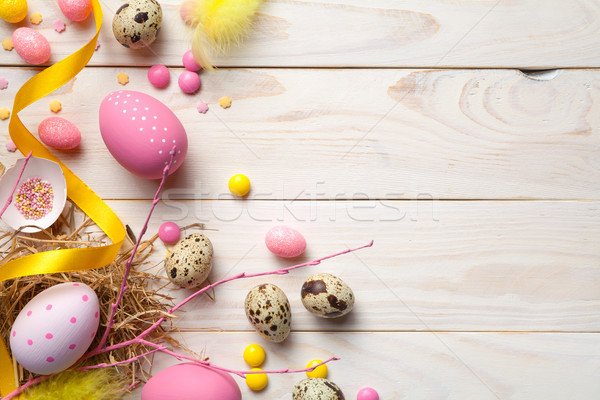 Easter Background with Easter Eggs Stock photo © ThreeArt