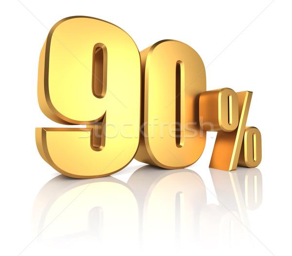 Goud procent af witte 3d render metaal Stockfoto © ThreeArt