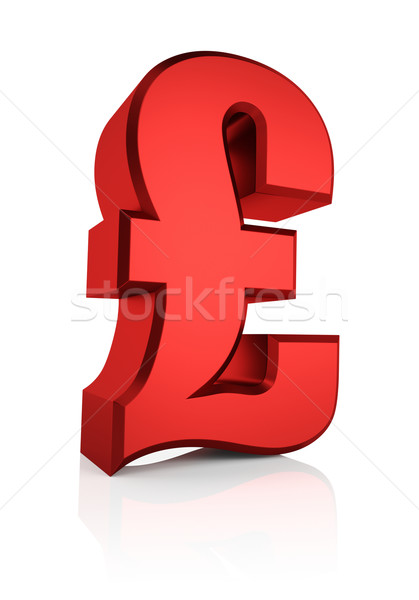3D Rood pond teken valuta symbool Stockfoto © ThreeArt