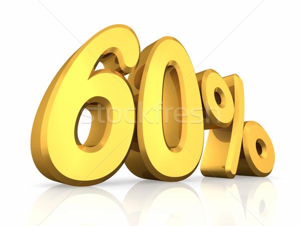 Stockfoto: Goud · zestig · procent · geïsoleerd · witte · 60