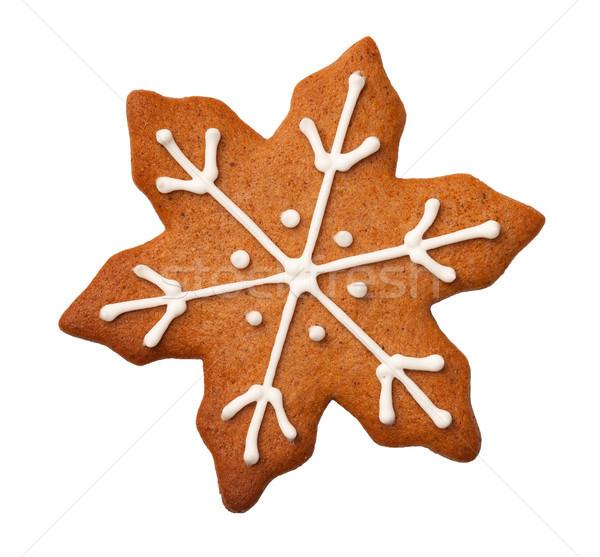 Karácsony mézeskalács hópehely süti izolált fehér Stock fotó © ThreeArt