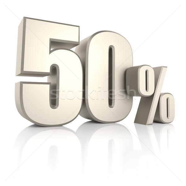 50 процент изолированный белый 3d визуализации знак Сток-фото © ThreeArt