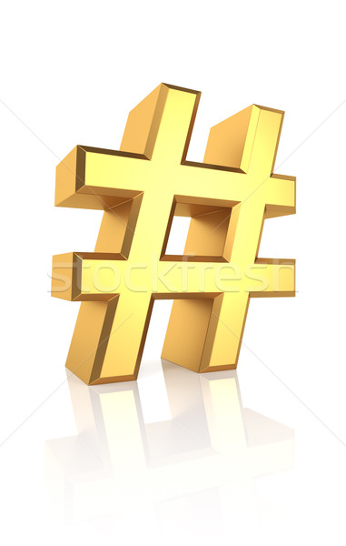 Stock photo: 3D Gold Hash Sign