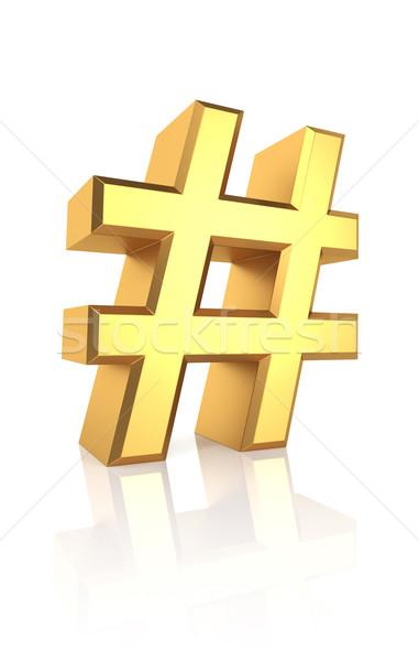 3D Gold Hash Sign Stock photo © ThreeArt