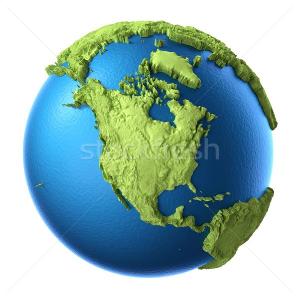 3D mondo isolato bianco continente settentrionale Foto d'archivio © ThreeArt