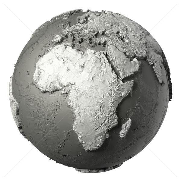 3D monde Afrique modèle détaillée topographie Photo stock © ThreeArt