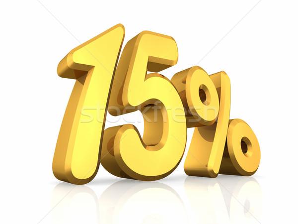 Goud vijftien procent geïsoleerd witte 15 Stockfoto © ThreeArt