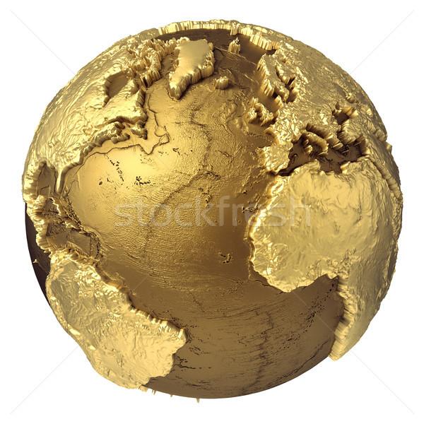 Goud wereldbol oceaan gouden model water Stockfoto © ThreeArt