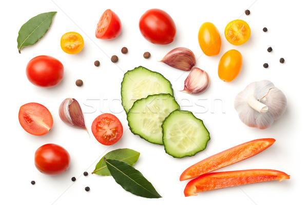 Stock photo: Fresh Vegetables and Spices Isolated on White Background