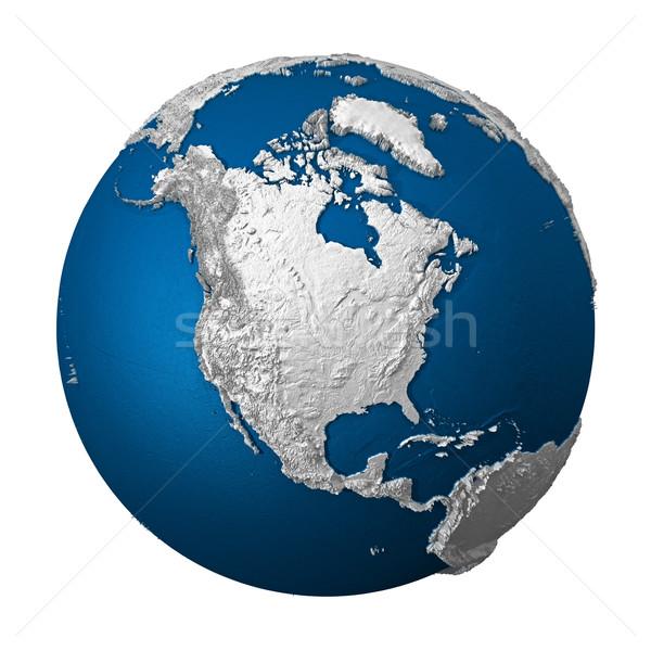 Stock foto: Künstliche · Erde · nördlich · america · weiß · blau