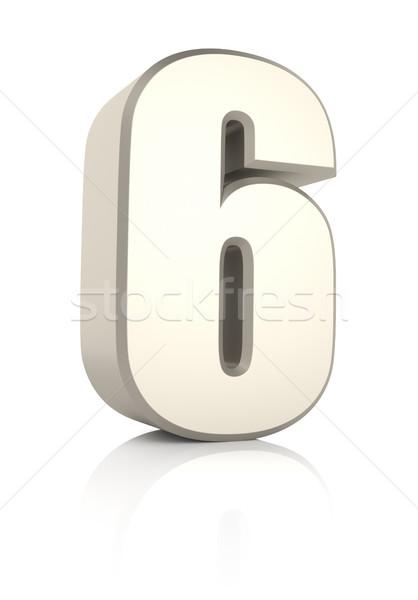 Number 6 Isolated on White Background Stock photo © ThreeArt