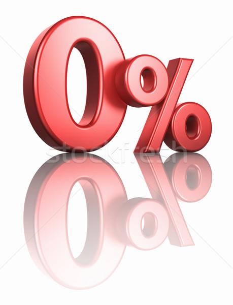 Stock photo: Glossy Red Zero Percent