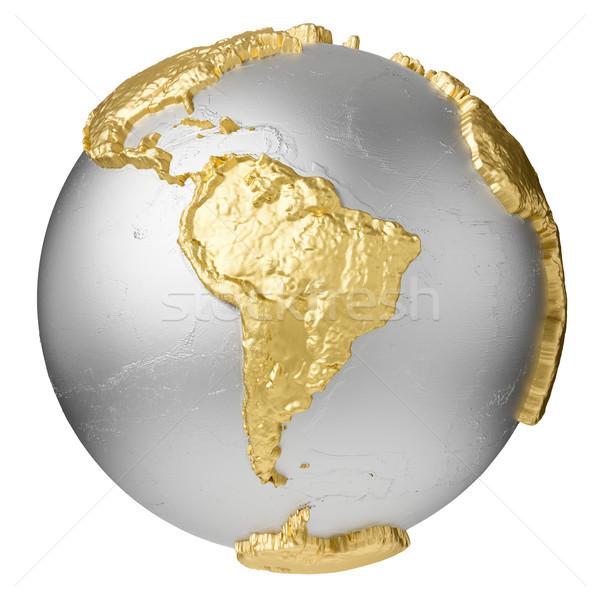 Altın güney amerika gümüş dünya su 3D Stok fotoğraf © ThreeArt