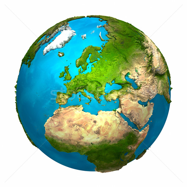 Planet Earth Europa colorat glob detaliat realist Imagine de stoc © ThreeArt