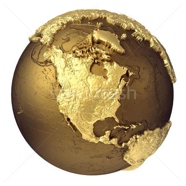 Arany földgömb észak Amerika arany modell Stock fotó © ThreeArt