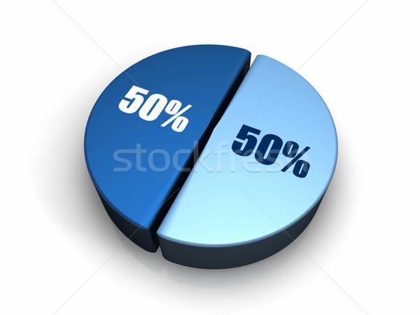 Mavi 50 yüzde elli 3d render Stok fotoğraf © ThreeArt