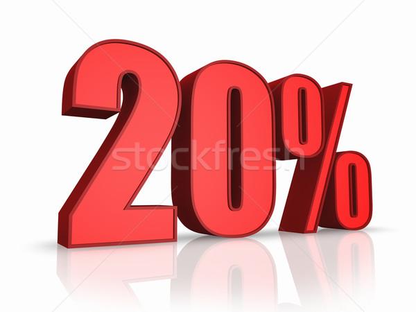 Stock fotó: Piros · húsz · százalék · izolált · fehér · 20