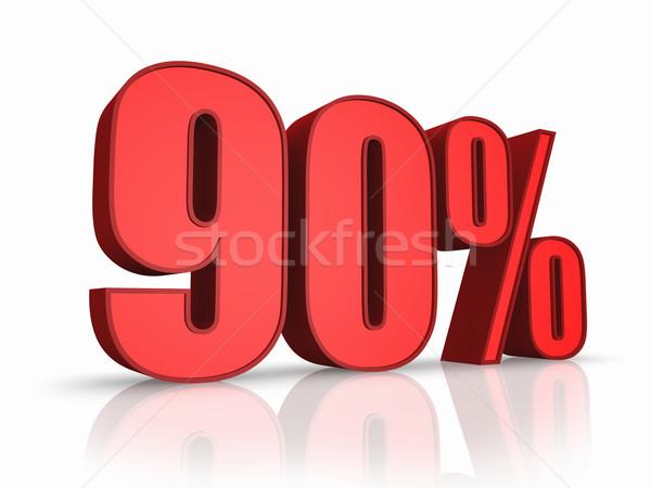 Stockfoto: Rood · procent · geïsoleerd · witte · financieren · markt