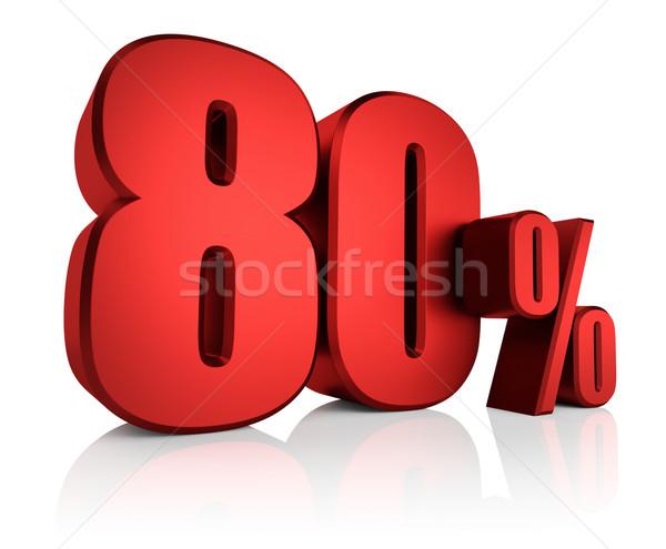красный до 80 процент белый 3d визуализации скидка Сток-фото © ThreeArt