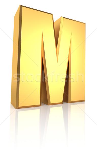 3D mektup m altın yalıtılmış beyaz Stok fotoğraf © ThreeArt