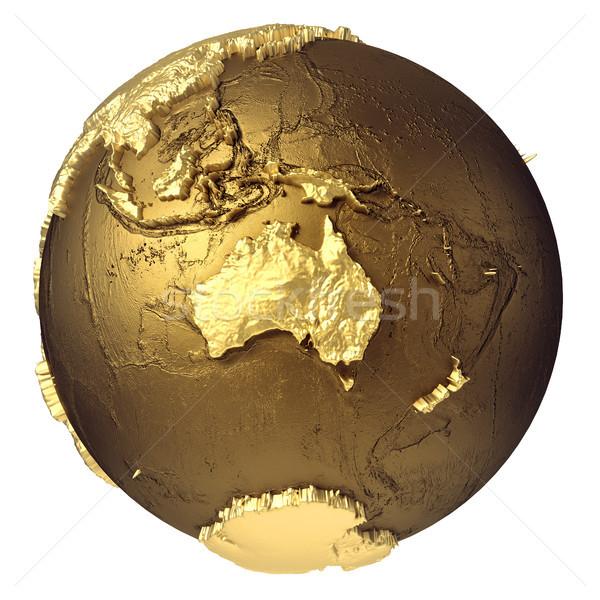 Ouro globo Austrália dourado modelo água Foto stock © ThreeArt
