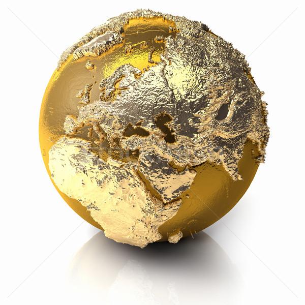 золото мира Европа реалистичный топография свет Сток-фото © ThreeArt