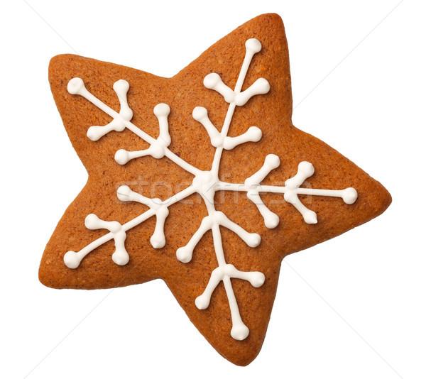 Peperkoek star geïsoleerd witte cookie christmas Stockfoto © ThreeArt