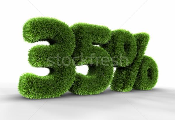 Stockfoto: Gras · dertig · vijf · procent · geïsoleerd · witte