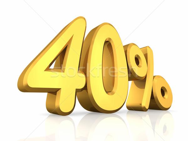 Stockfoto: Goud · veertig · procent · geïsoleerd · witte · 40