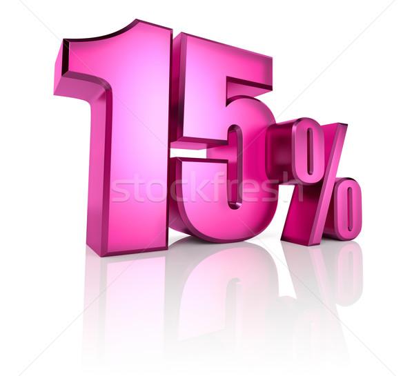 Quinze por cento assinar rosa isolado branco Foto stock © ThreeArt