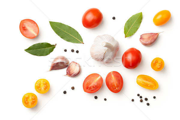 Stock photo: Tomatoes, Garlic, Bay Leaves and Peppercorn Isolated on White Ba