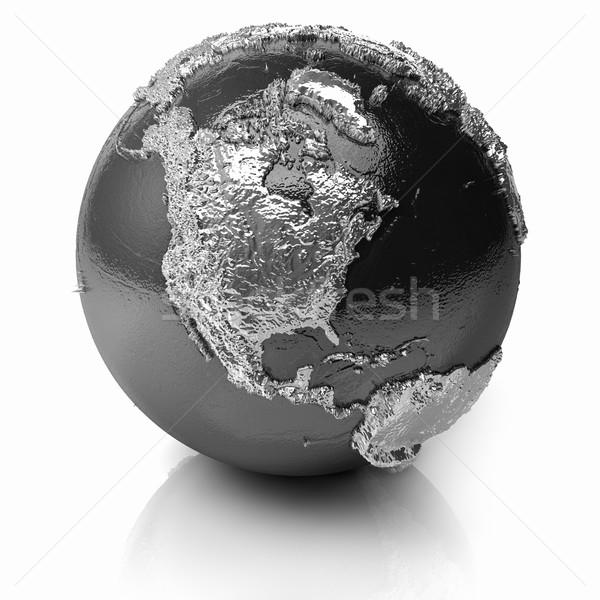 Ezüst földgömb észak Amerika fém Föld Stock fotó © ThreeArt