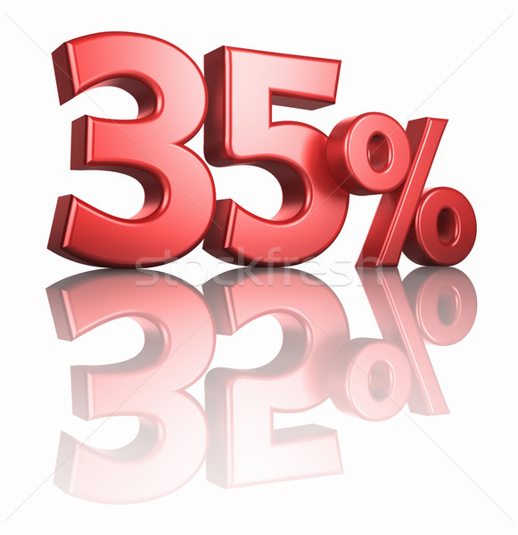 Glanzend Rood dertig vijf procent witte Stockfoto © ThreeArt