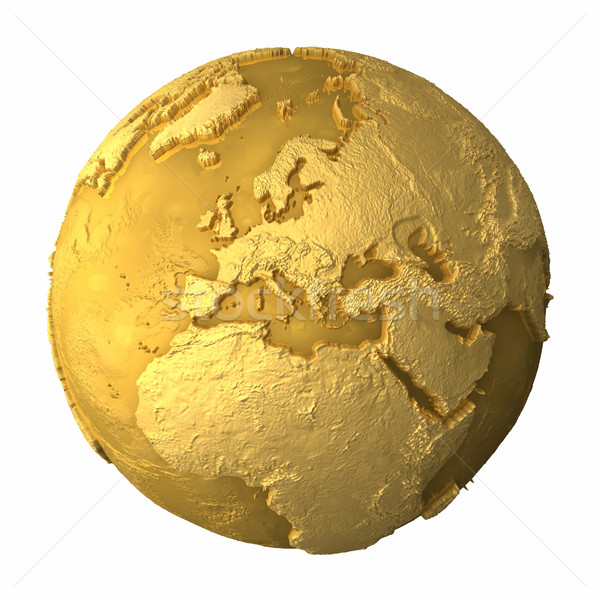 Or monde Europe métal terre réaliste Photo stock © ThreeArt