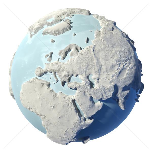 Wereldbol 3D winter aarde geïsoleerd witte Stockfoto © ThreeArt