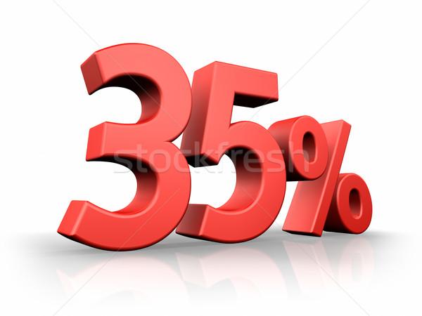 Rood dertig vijf procent geïsoleerd witte Stockfoto © ThreeArt