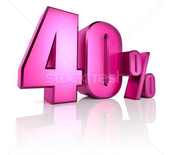 Czterdzieści procent podpisania różowy odizolowany biały Zdjęcia stock © ThreeArt