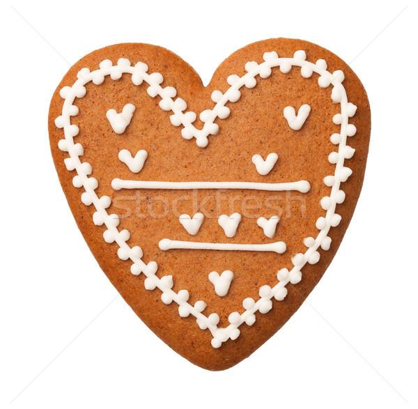 Pão de especiarias coração isolado branco bolinhos topo Foto stock © ThreeArt