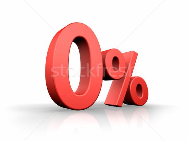 красный нулевой процент изолированный белый Финансы Сток-фото © ThreeArt