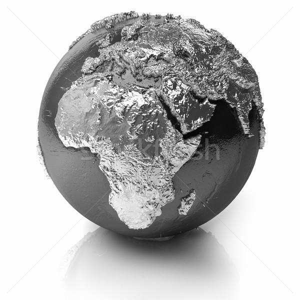 Ezüst földgömb Afrika fém Föld valósághű Stock fotó © ThreeArt